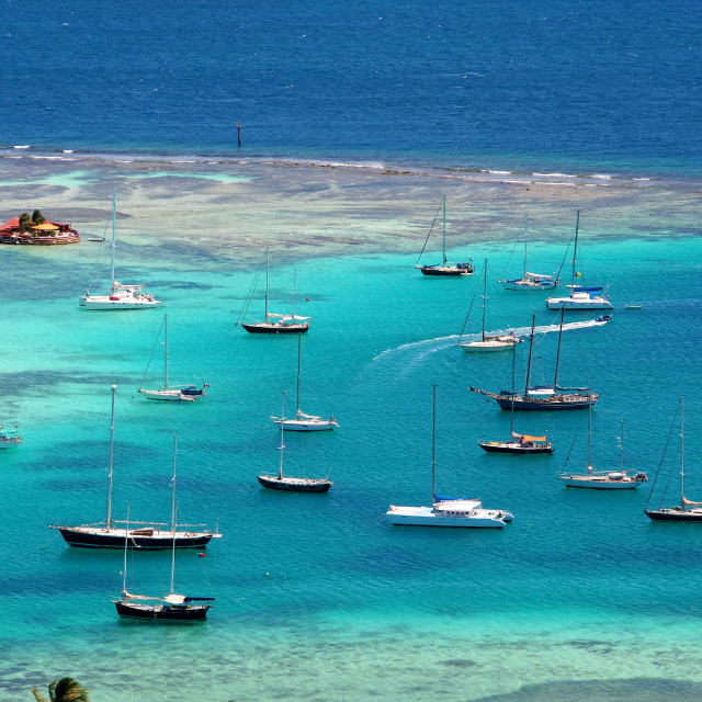 """Sailing around Union Island, Saint Vincent and Grenadines"" stock image"