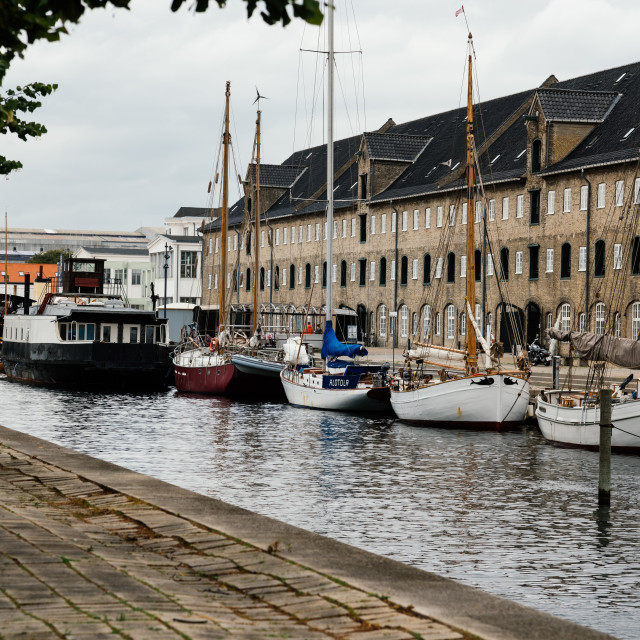 """""""Port of Copenhagen with old ships a cloudy summer day"""" stock image"""