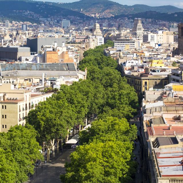 """View of Las Ramblas in Barcelona"" stock image"