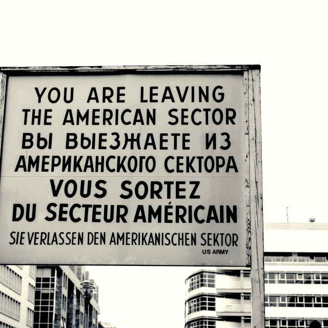 """Historical sign at checkpoint charlie in Berlin"" stock image"