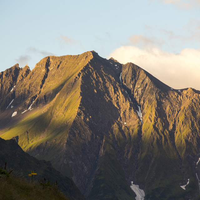 """""""The Dent du Verrue at dawn, near Les Contamines, French Alps."""" stock image"""