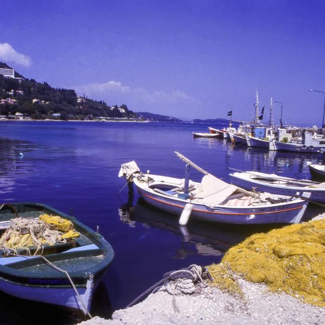 """""""Fishing Boats, Benitses Harbour, Corfu, Greece"""" stock image"""