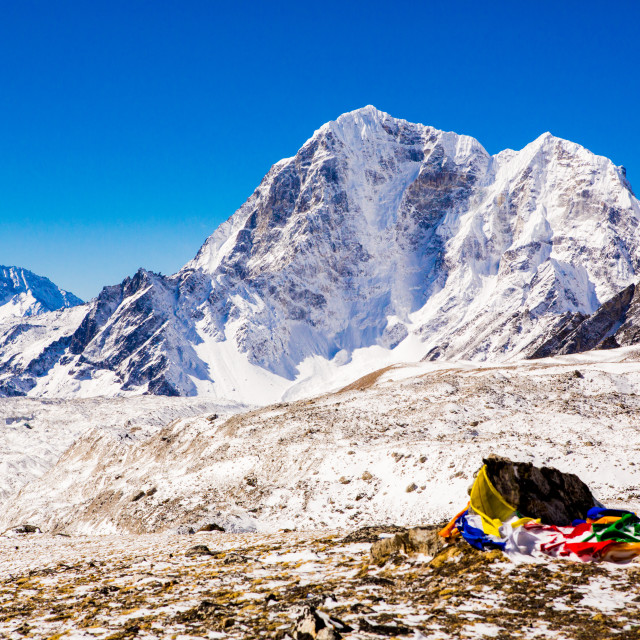 """Everest Peak with Prayer flags"" stock image"