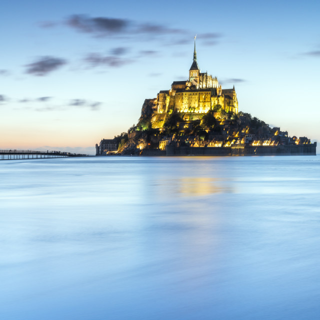 """High tide at dusk. Mont-Saint-Michel, Normandy, France."" stock image"