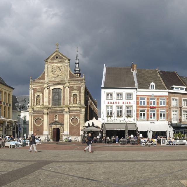 """""""Sittard markt, market, sunny terraces"""" stock image"""