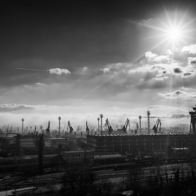 """""""Panoramic view toward sea port and industrial cranes"""" stock image"""