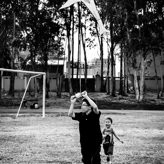 """Childhood kite and father"" stock image"