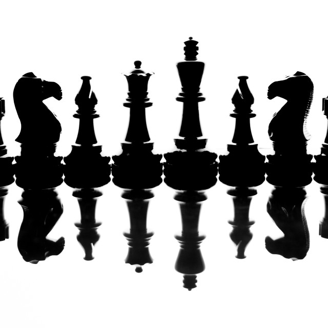 """Chess Silhouette and Reflection"" stock image"