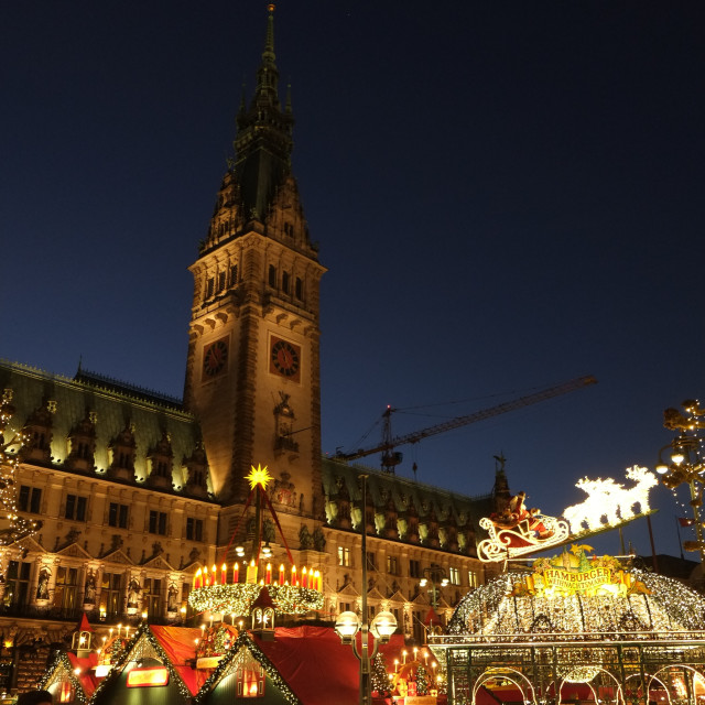 """Historical Christmas Market in Hamburg, Germany"" stock image"