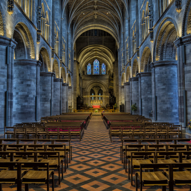 """""""Hereford Cathedral Nave from the West Doors"""" stock image"""