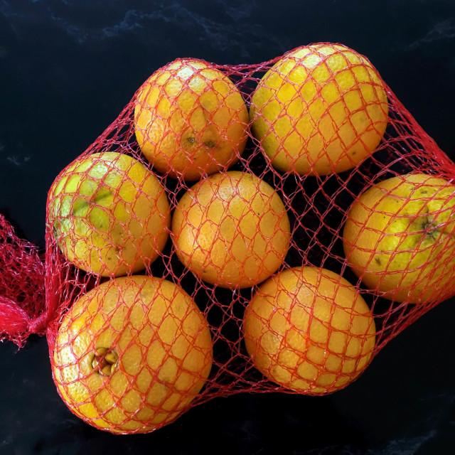 """String Bag of Oranges"" stock image"