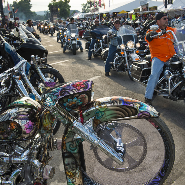 """""""Sturgis, South Dakota - August 9, 2014: Riders in the main street of the city of Sturgis, in South Dakota, USA, during the annual Sturgis Motorcycle Rally"""" stock image"""