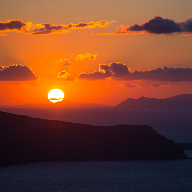 """""""Sunset, Cyclades, Greece"""" stock image"""
