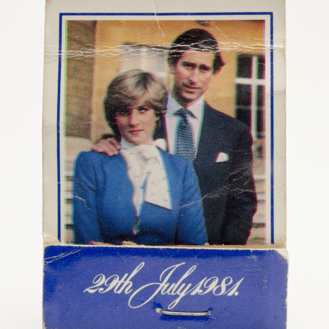 """Book of Matches celebrating the Royal Wedding of Lady Diana Spencer and HRH Prince Charles"" stock image"