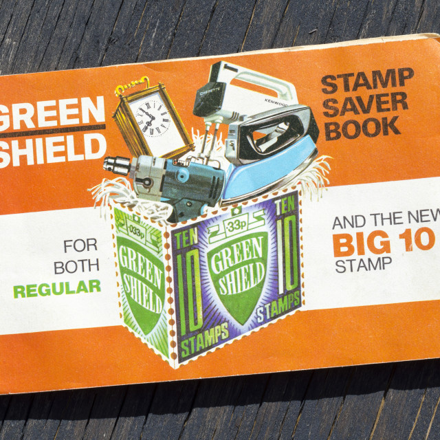"""Book of Green Shield Stamps from the 1970'"" stock image"