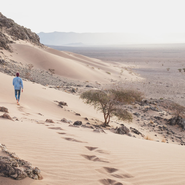 """Footsteps in the desert"" stock image"