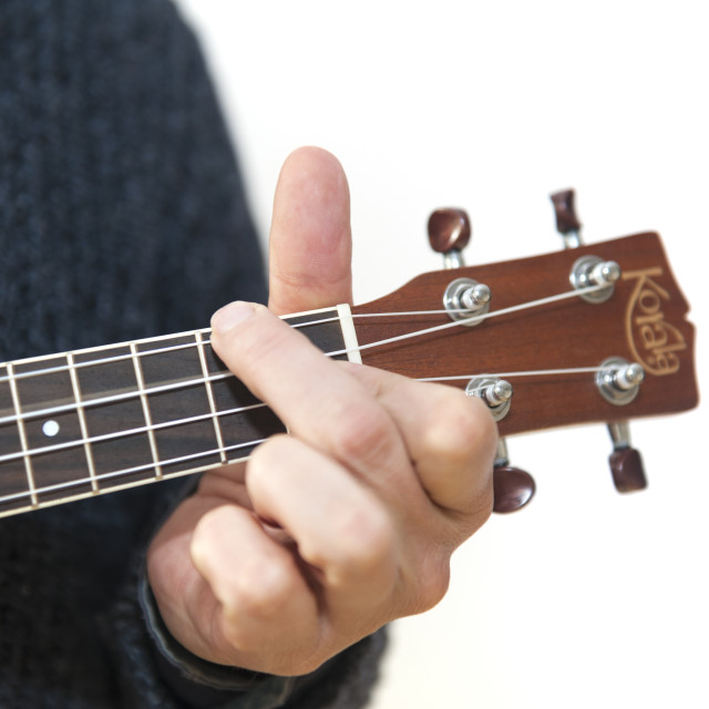 """""""Abstract man playing a ukelele. Fret, chords, note F."""" stock image"""