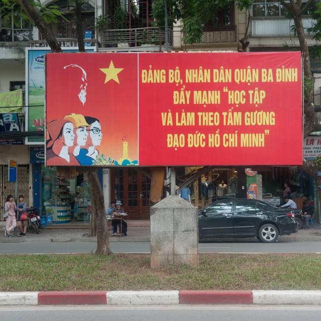 """Hanoi Vietnam Communist propodanda poster."" stock image"