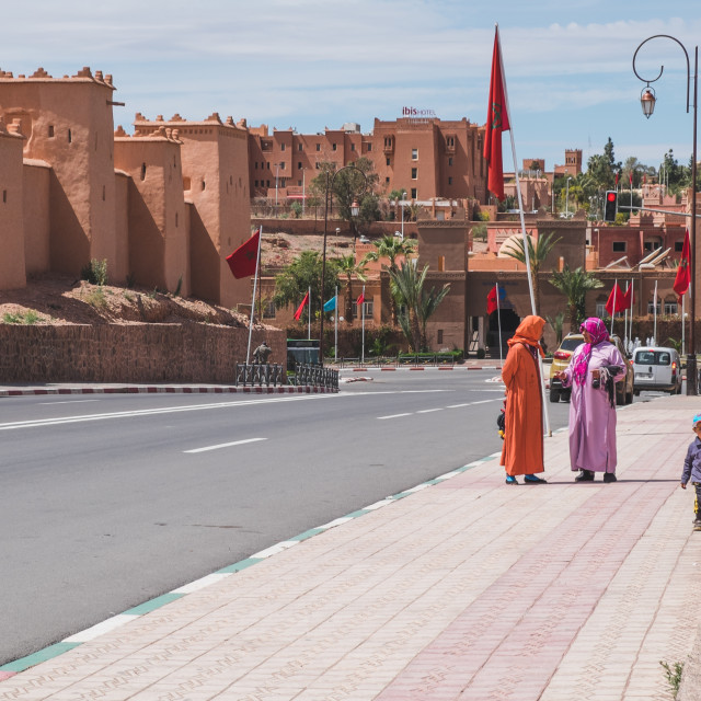 """Street through Ouarzazate"" stock image"