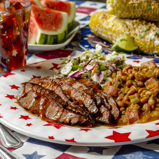 """""""Barbecue beef brisket holiday picnic table"""" stock image"""