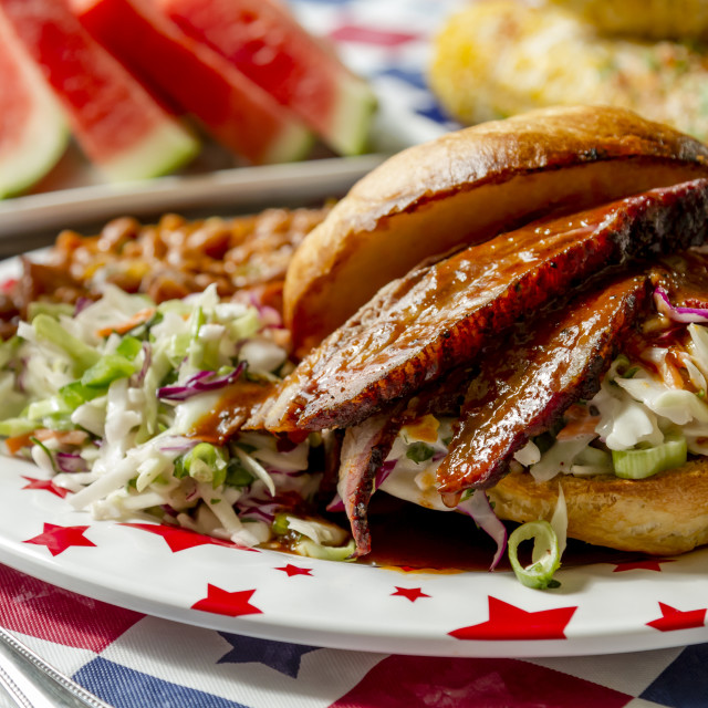 """""""Barbecue beef brisket sandwich on roll"""" stock image"""