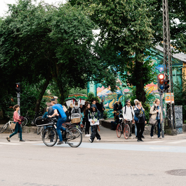 """People in the entrance to Christiania"" stock image"