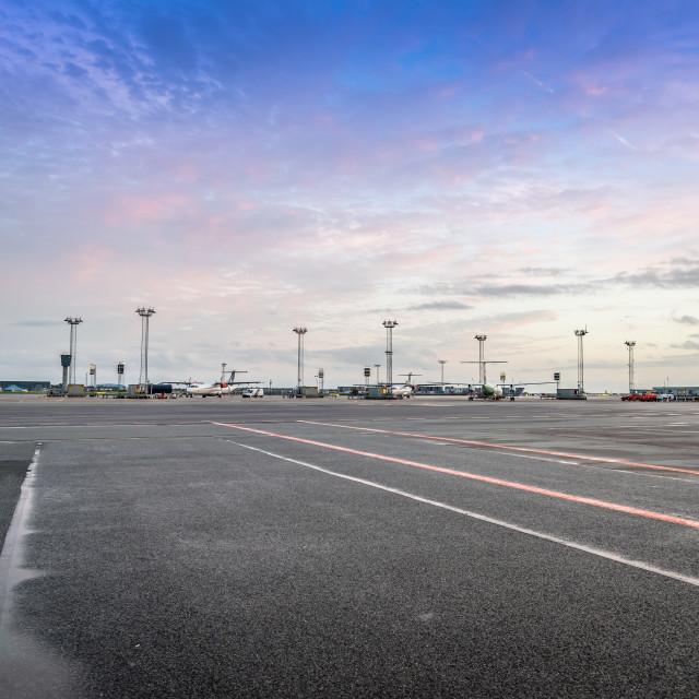 """""""View of the runways of Kastrup airport in Copenhagen"""" stock image"""