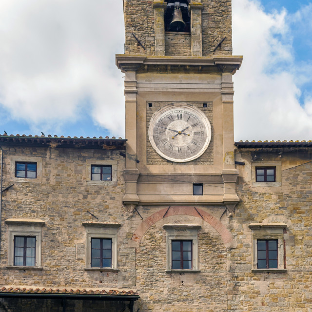"""view of the town hall in the medieval city of Cortona"" stock image"