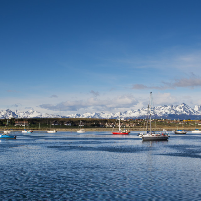 """""""Boats in the bay in front of the city of Ushuaia, in Tierra del Fuego, Argentina"""" stock image"""