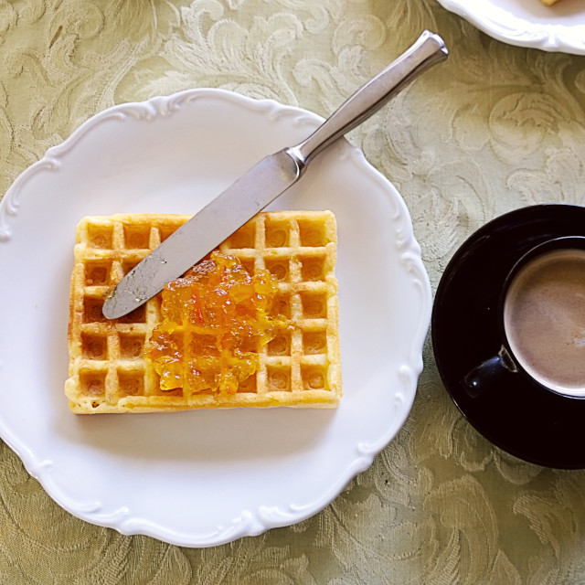 """waffle with orange marmalade and espresso coffee for a quick breakfast"" stock image"