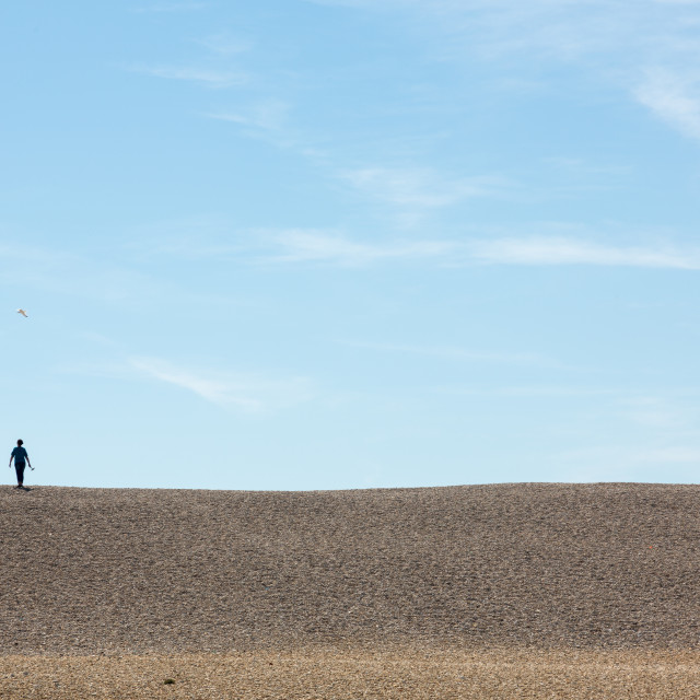 """Single alone woman on top of hill"" stock image"