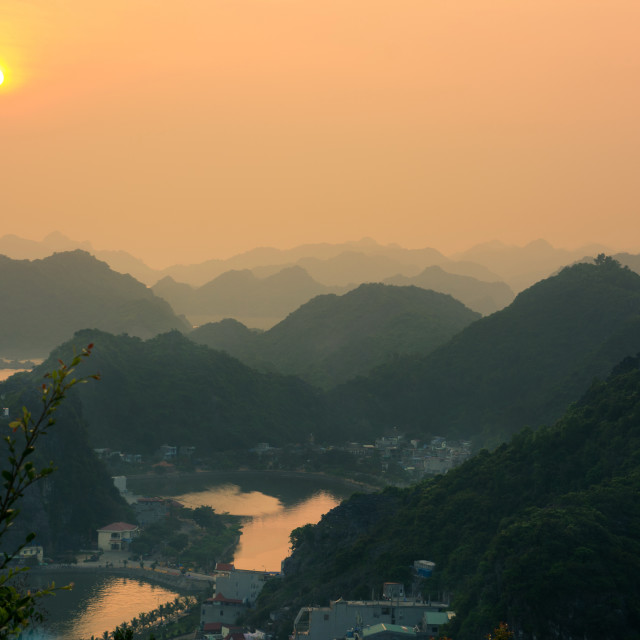 """""""Sunset view from Cannon fort in Cat ba, Vietnam"""" stock image"""