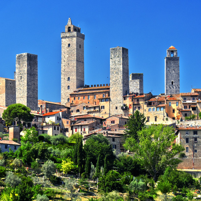 """""""Panoramic view of San Gimignano in Tuscany, Italy"""" stock image"""