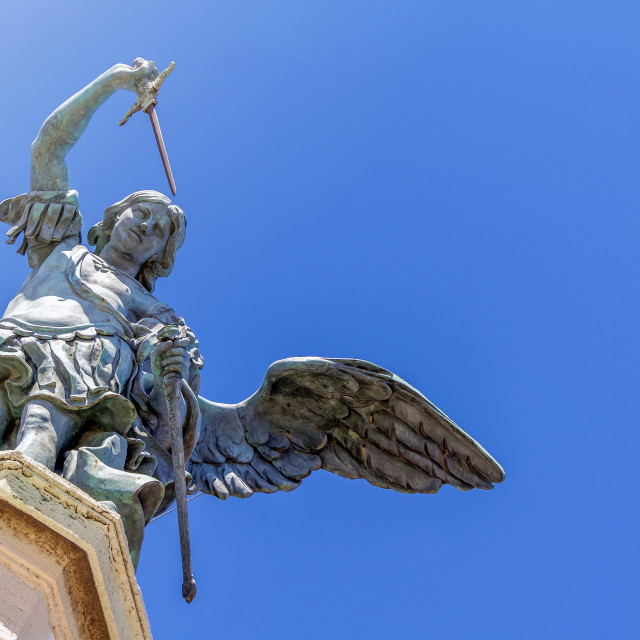 """close up of the bronze angel at the top of Castel Sant Angelo in"" stock image"