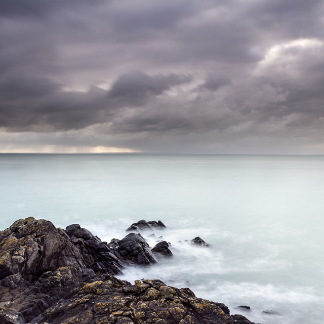 """Approaching Storm, Pointe du Grouin, Brittany, France,"" stock image"