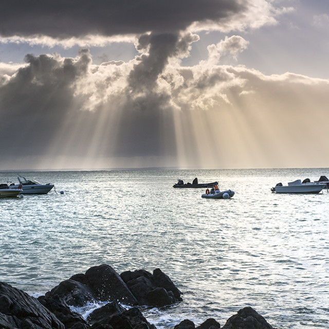 """Clearing Storm, Pointe du Grouin, Brittany, France,"" stock image"
