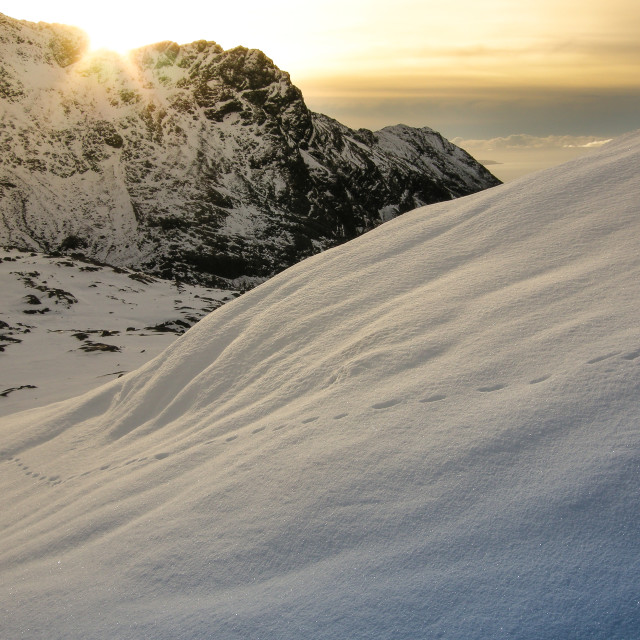 """SNOWY BLACK CUILLIN RIDGE, ISLE OF SKYE, SCOTLAND"" stock image"