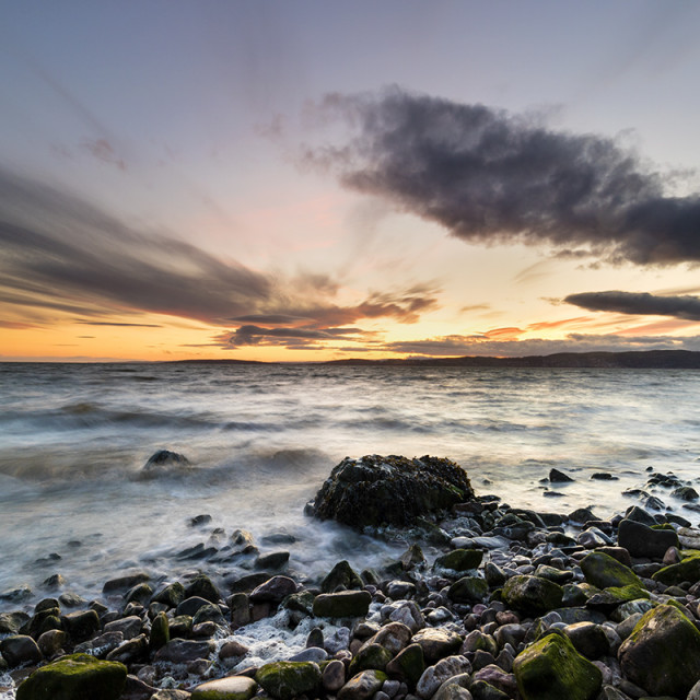 """Sunset Over Morecambe Bay Viewed from Silverdale, Lancashire, UK"" stock image"