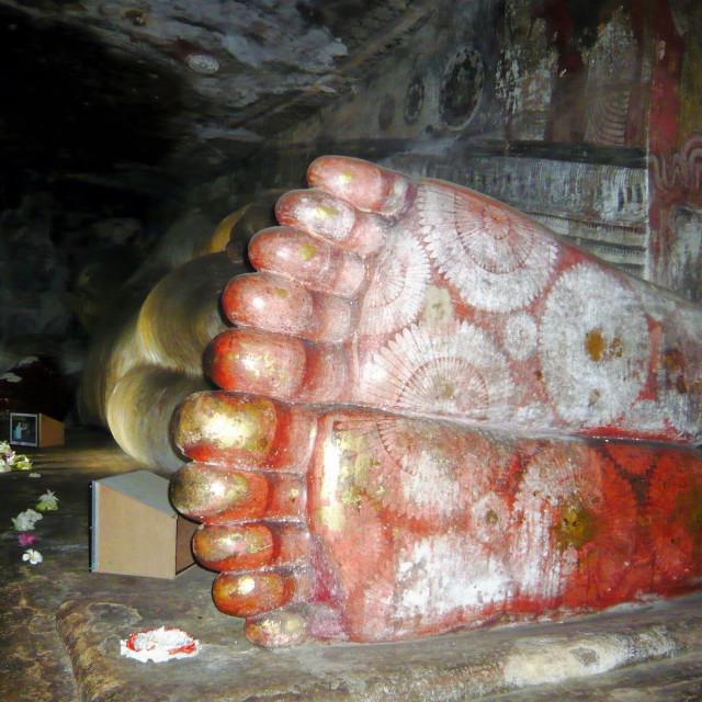 """Feet of reclining Buddha"" stock image"