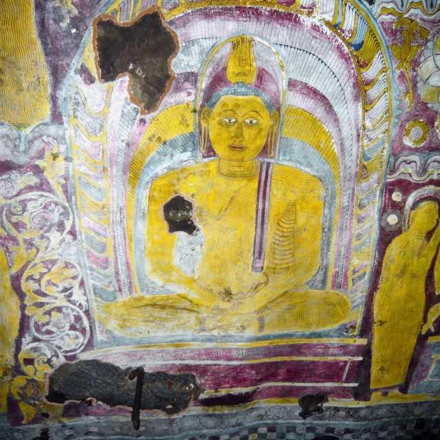 """Buddha painting, Rock Temple, Dambula, Sri Lanka."" stock image"