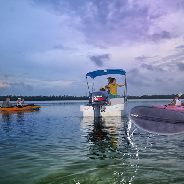 """Kayakers meet on a lagoon"" stock image"