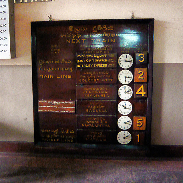 """Departure Board, Kandy Station"" stock image"