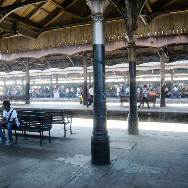 """Busy train station, Colombo"" stock image"