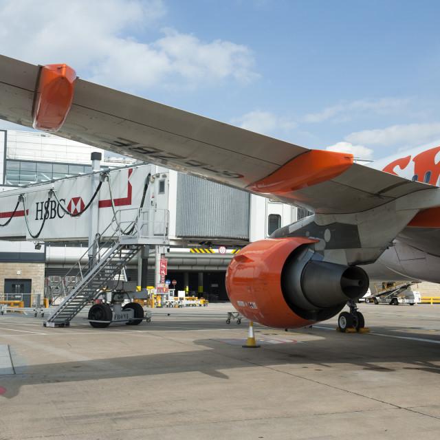 """Gatwick UK Easyjet Airbus on the tarmac."" stock image"