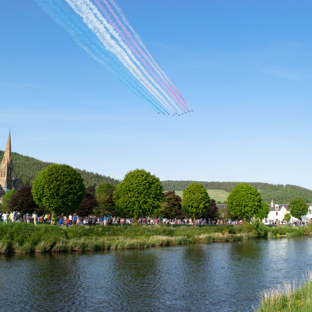 """""""Red Arrows over Tweed Green"""" stock image"""
