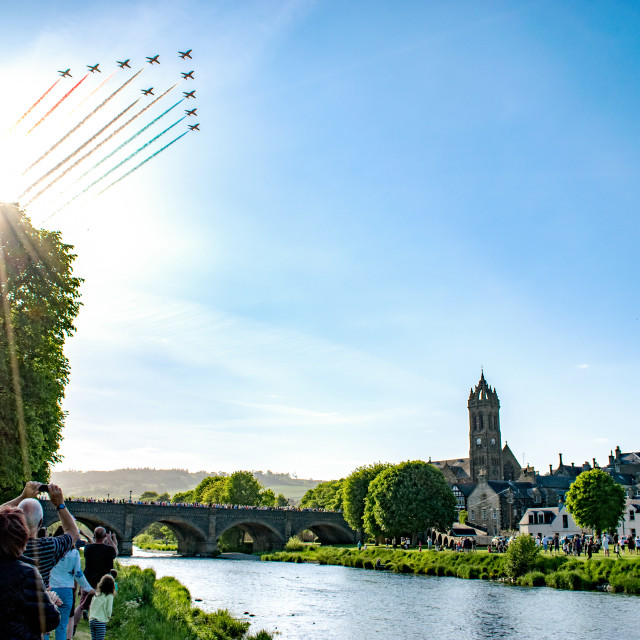 """Red Arrows over Peebles"" stock image"