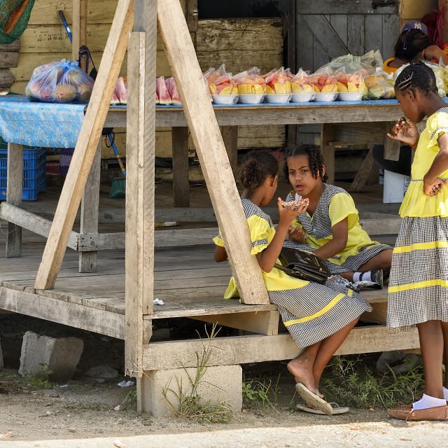 """Lunchbreak for school kids"" stock image"