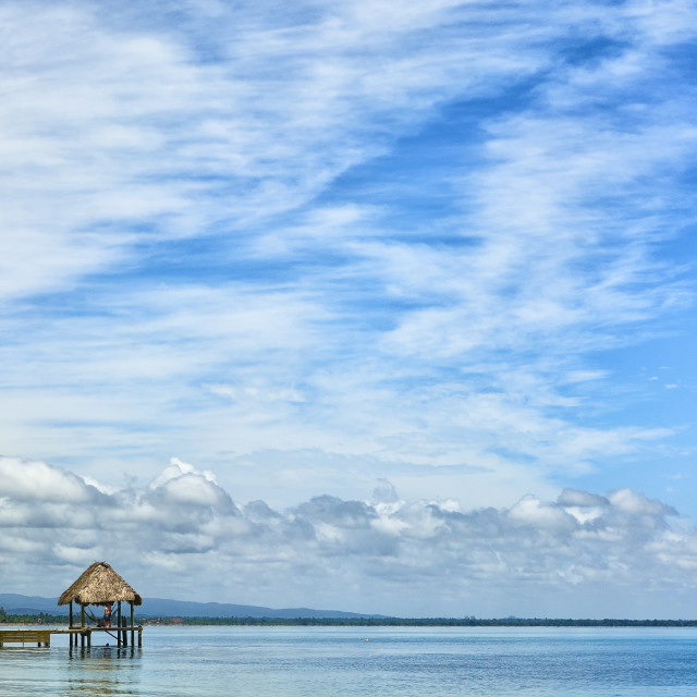 """""""View across a bay in Belize"""" stock image"""