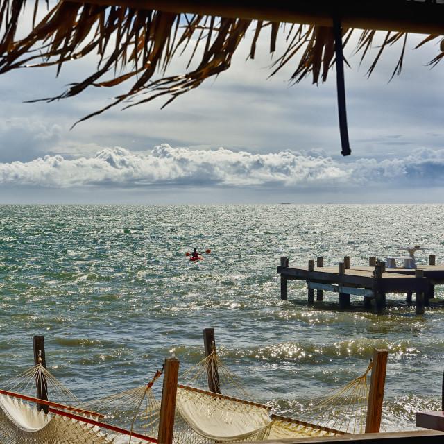 """Kayaker on the sea"" stock image"