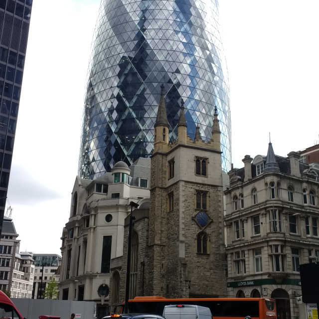 """The Old and The New - 30 St. Mary's Axe"" stock image"